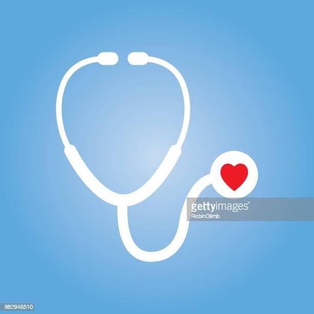 ilustraciones, imágenes clip art, dibujos animados e iconos de stock de icono de estetoscopio corazón rojo - estetoscopio