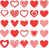 Red heart vector icons