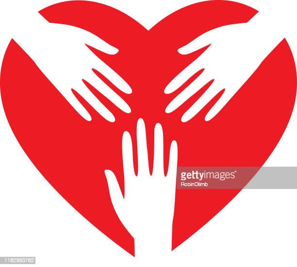 red heart white hands  icons - three people stock illustrations