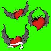 red heart winged bat rock style tattoo set2