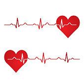 Red heart with ekg on white - medical design.