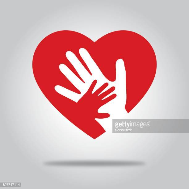 red heart with hands - heart shape stock illustrations