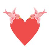 Red heart with two pink decorative birds. valentines day object