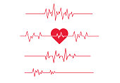 Red heartbeat line icon on white background.