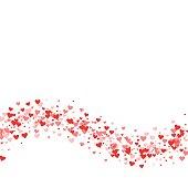 Red hearts confetti.