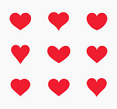 Red hearts icons.