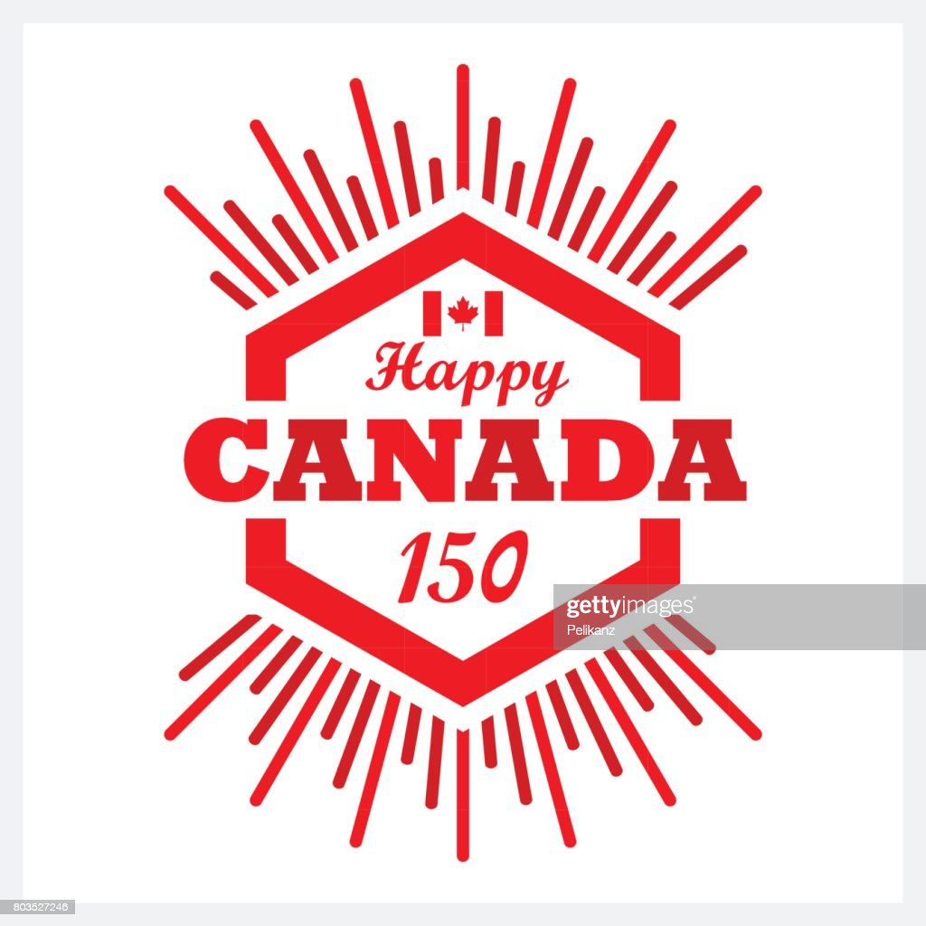 Red hexagon Happy Canada 150 emblem icon with sunbeam on white background
