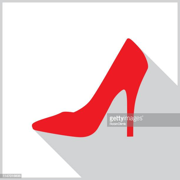 red high heel shoe shadow icon - high heels stock illustrations, clip art, cartoons, & icons