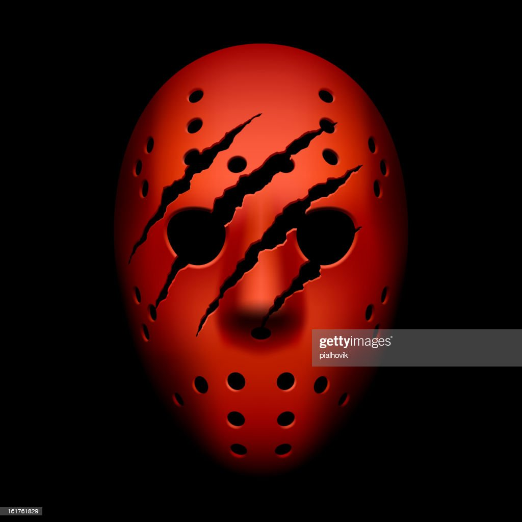 Red hockey mask with traces of claws