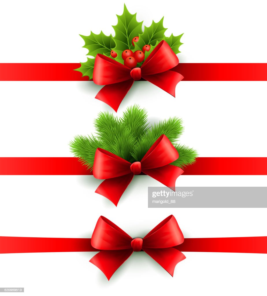 Red holiday ribbon with bow. holly and pine decoration