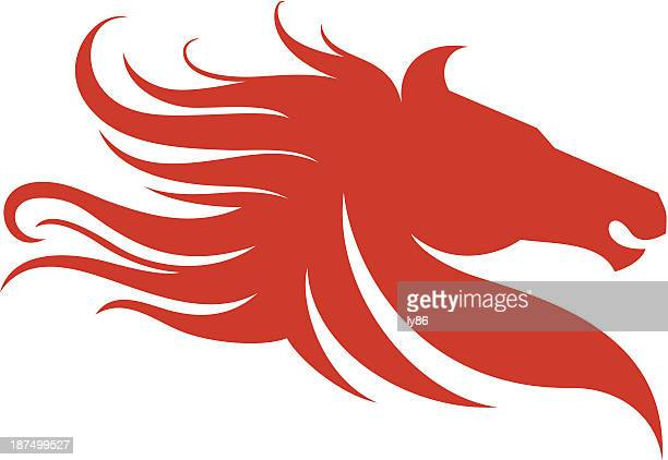 red horse head and mane graphic - stallion stock illustrations, clip art, cartoons, & icons