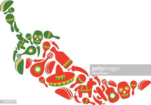 red hot chili pepper - sombrero stock illustrations