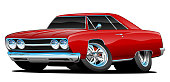 Red Hot Classic Muscle Car Coupe Cartoon Vector Illustration