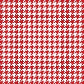 Red houndstooth pattern vector. Classical checkered textile design