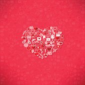 Red icon heart Valentines day card with sign on Icon
