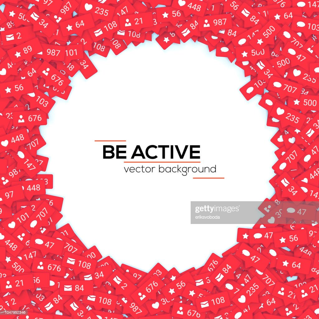 Red icons of social media network activity. Notification of likes, comments follow and followers. Concept of media marketing. Sign of social network activity signs with counters. Vector 3D background
