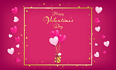 red invitation card rounding by red and soft pink hearts