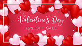 red invitation card rounding by red and soft pink hearts,