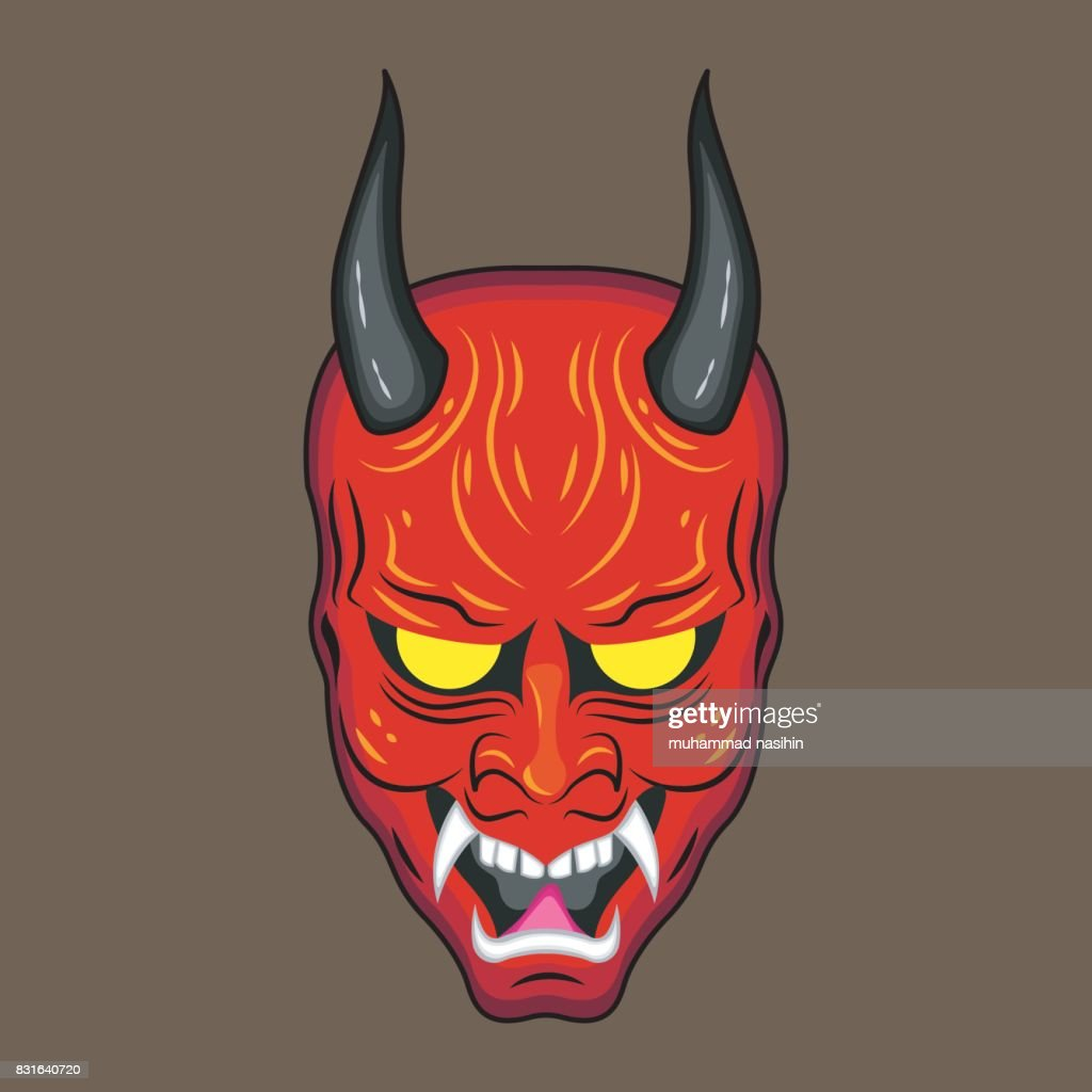 red Japanese devil mask