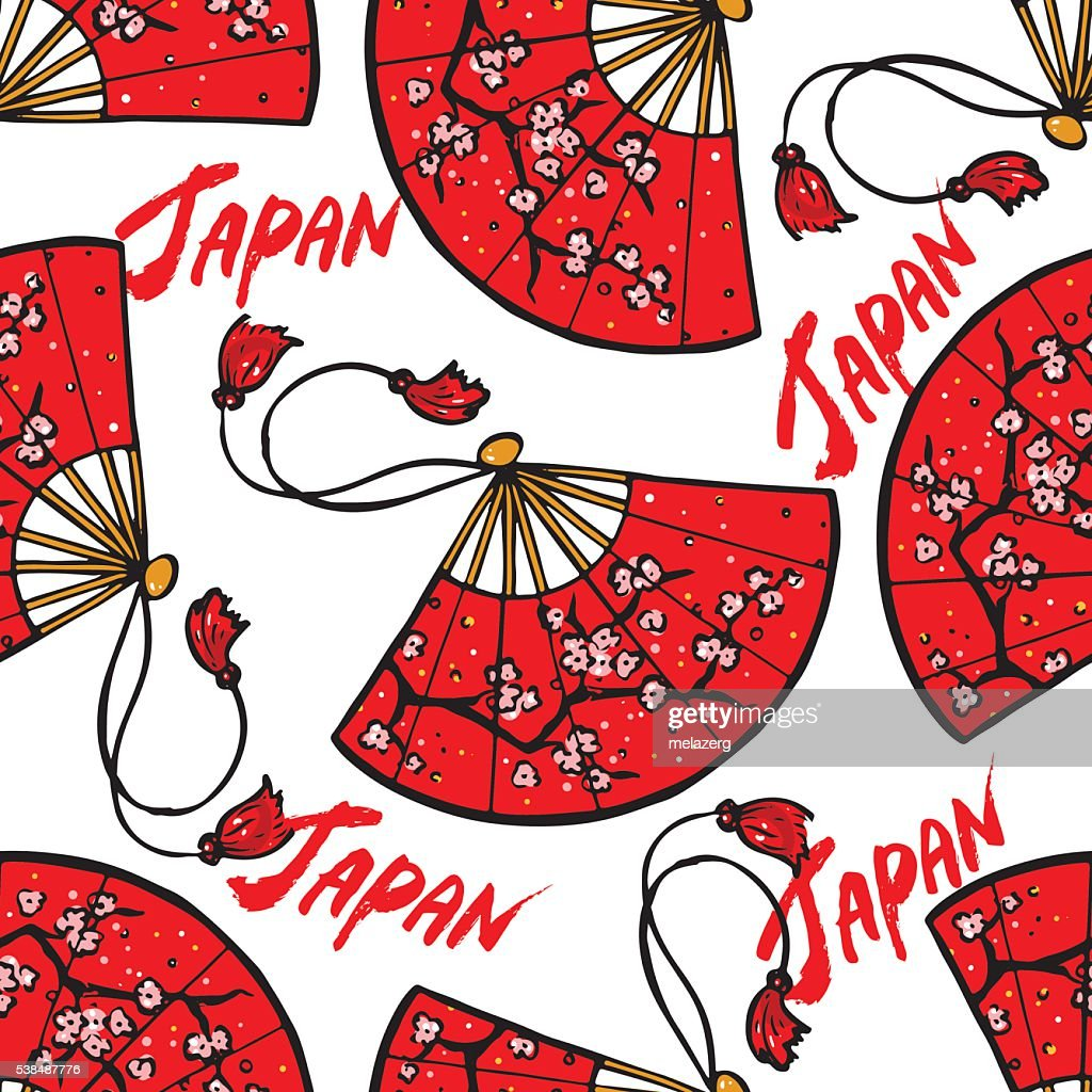 red Japanese fans