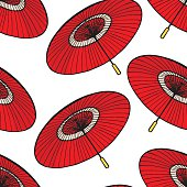 red Japanese umbrellas