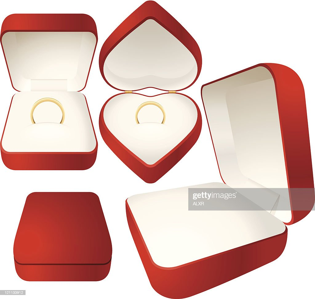 Red jewelry box with a gold wedding ring (CMYK)