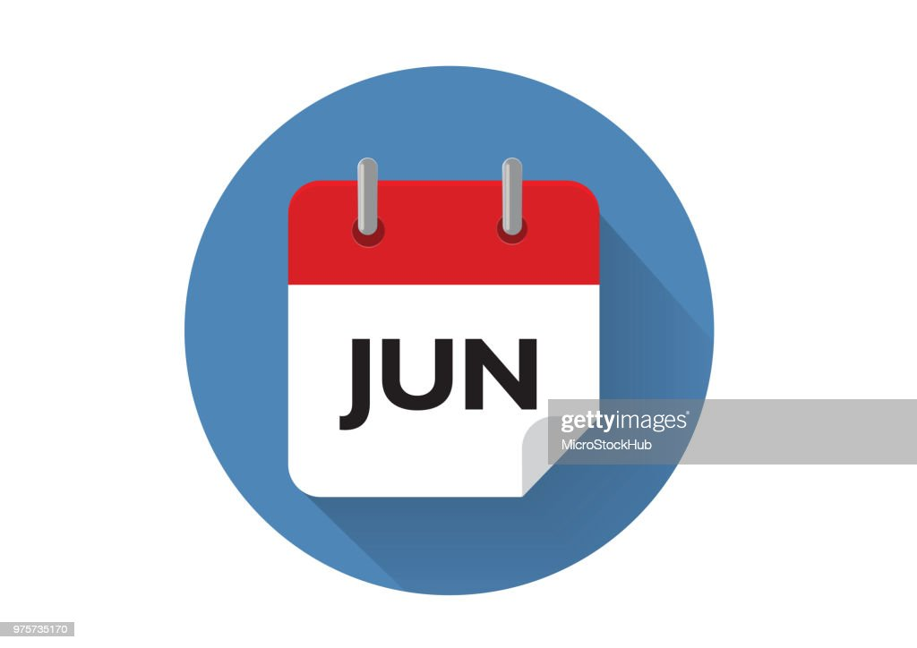 Red June Calendar Icon In Vector Format