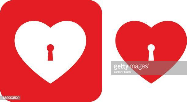 red keyhole heart icons - keyhole stock illustrations, clip art, cartoons, & icons