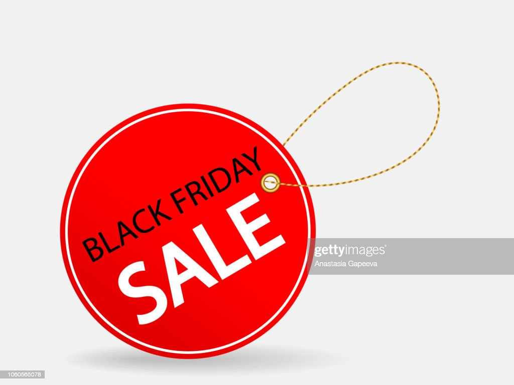 Red label with Black friday sale inscription. Vector illustration.