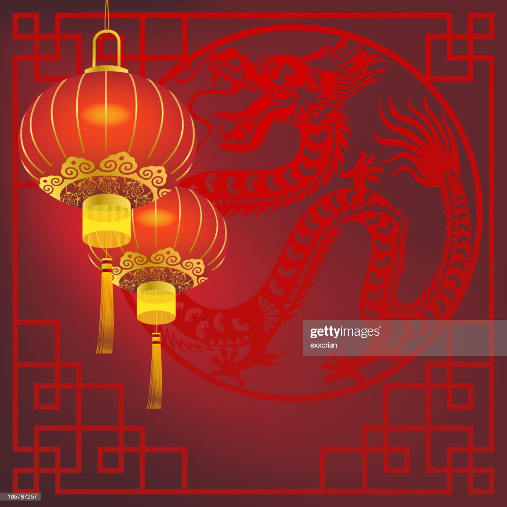 red lantern in front of chinese dragon frame art vector art - Dragon Frame
