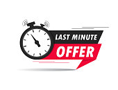 Red last minute offer with clock for promotion, banner, price. Label countdown of time for offer sale.Alarm clock with last minute offer of chance on isolated background. vector