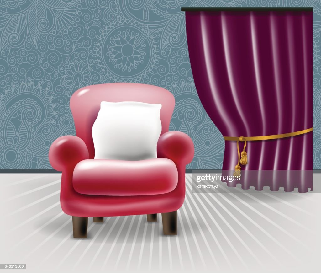 red leather chair with a white pillow in floral interior