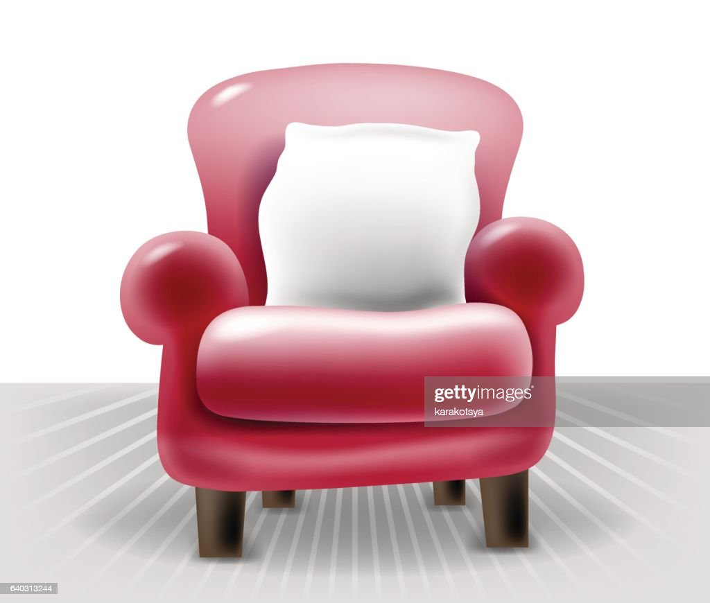 red leather chair with a white pillow, realistic vector