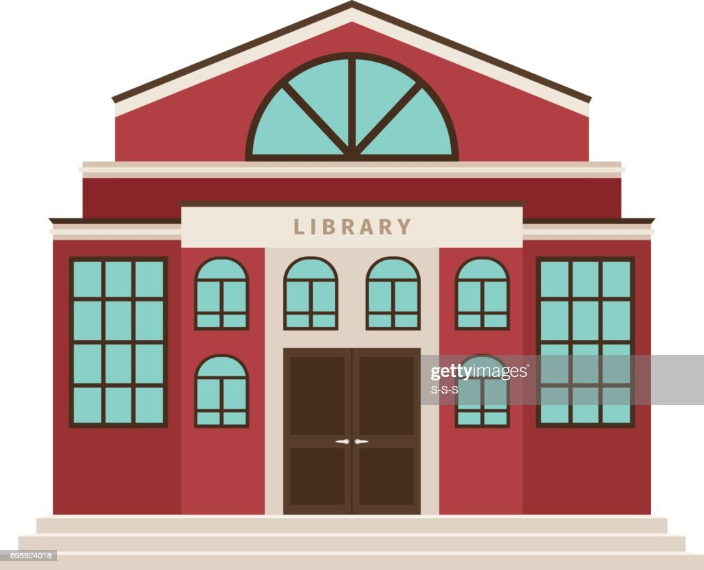 Red library cartoon building icon