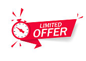 Red limited offer with clock for promotion, banner, price. Label countdown of time for offer sale or exclusive deal.Alarm clock with limited offer of chance on isolated background. vector