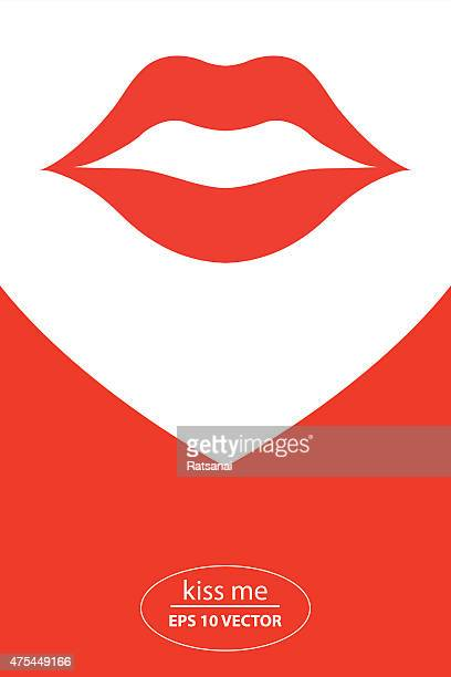 red lip icon vector - lipstick kiss stock illustrations, clip art, cartoons, & icons