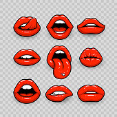 Red lips, a collection of different shapes, on a transparent background. Vector illustration