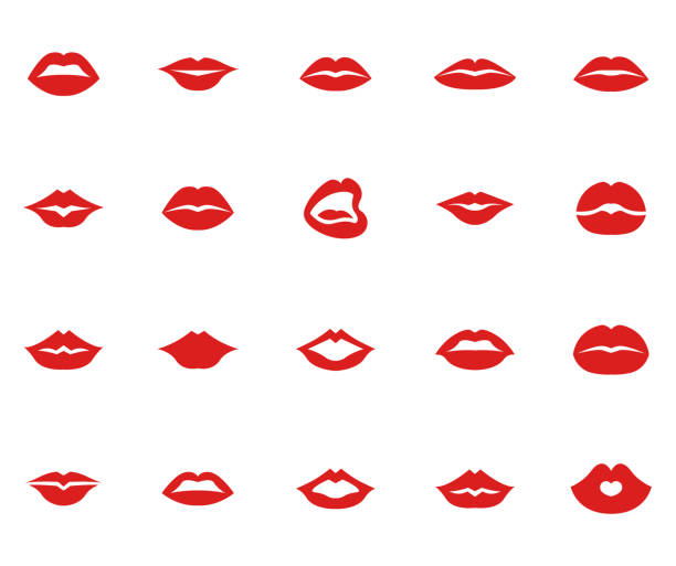 red lips collection set - lips stock illustrations