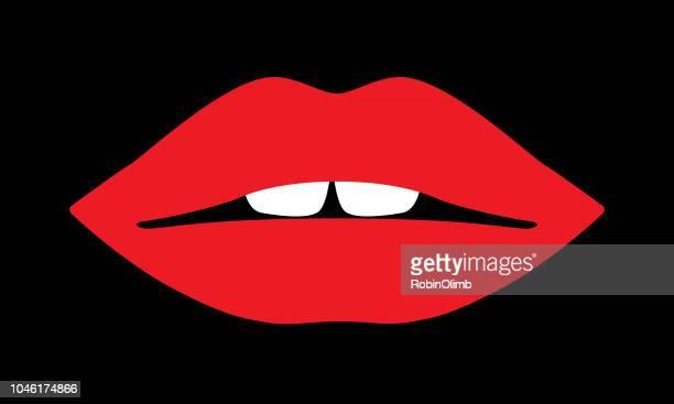 red lips icon - lip gloss stock illustrations, clip art, cartoons, & icons