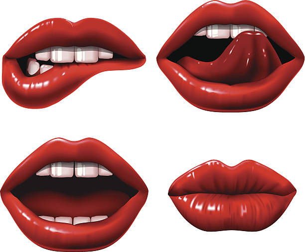 red lips - lips stock illustrations