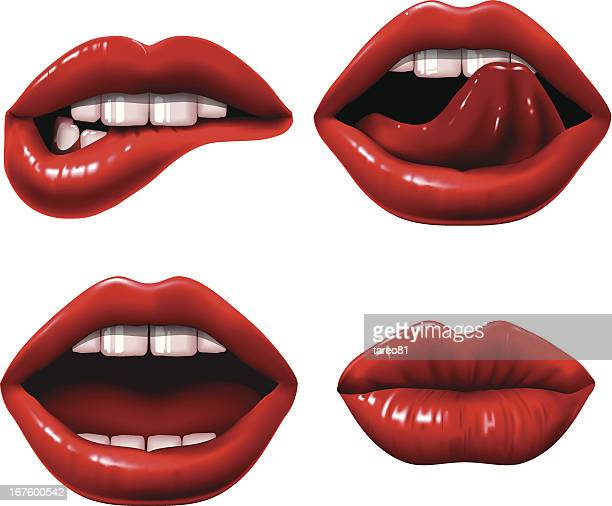 red lips - mouth stock illustrations, clip art, cartoons, & icons
