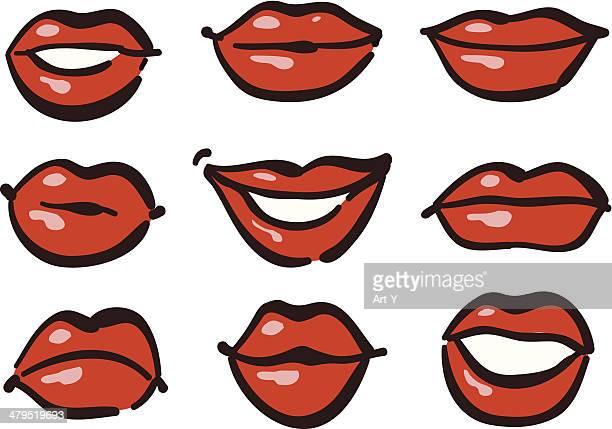red lips - lip gloss stock illustrations, clip art, cartoons, & icons