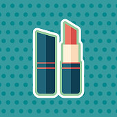 Red lipstick sticker flat icon with color background.