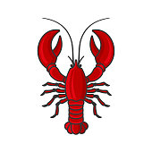 Red Lobster Icon on White Background. Vector