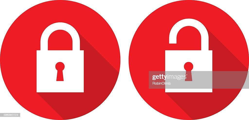 Red Lock Unlock Icons : stock illustration