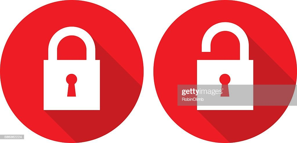 Red Lock Unlock Icons