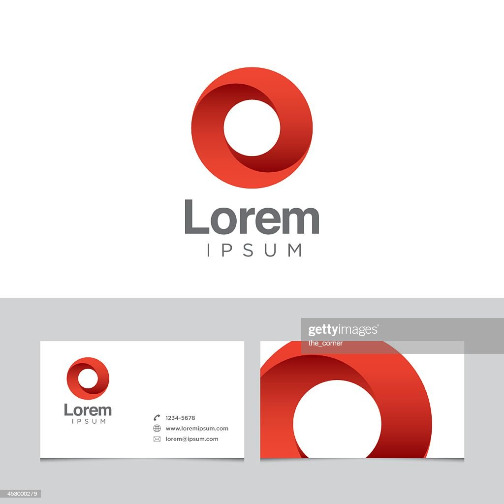 Red logo design element with business card template