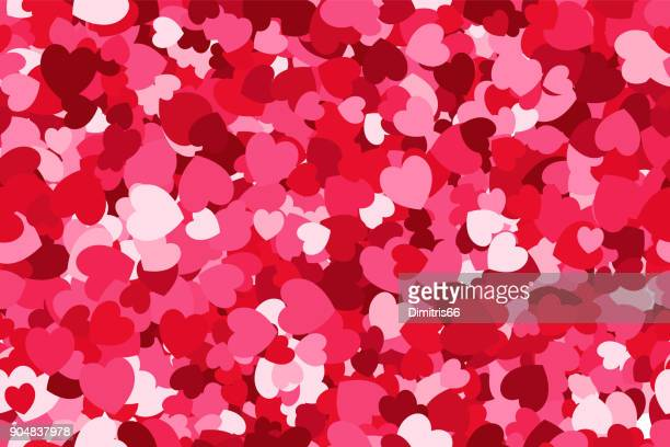 Red love seamless background made from about one thousant vector hearts