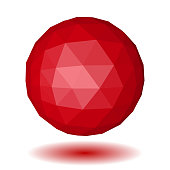 Red low polygonal sphere of triangular faces