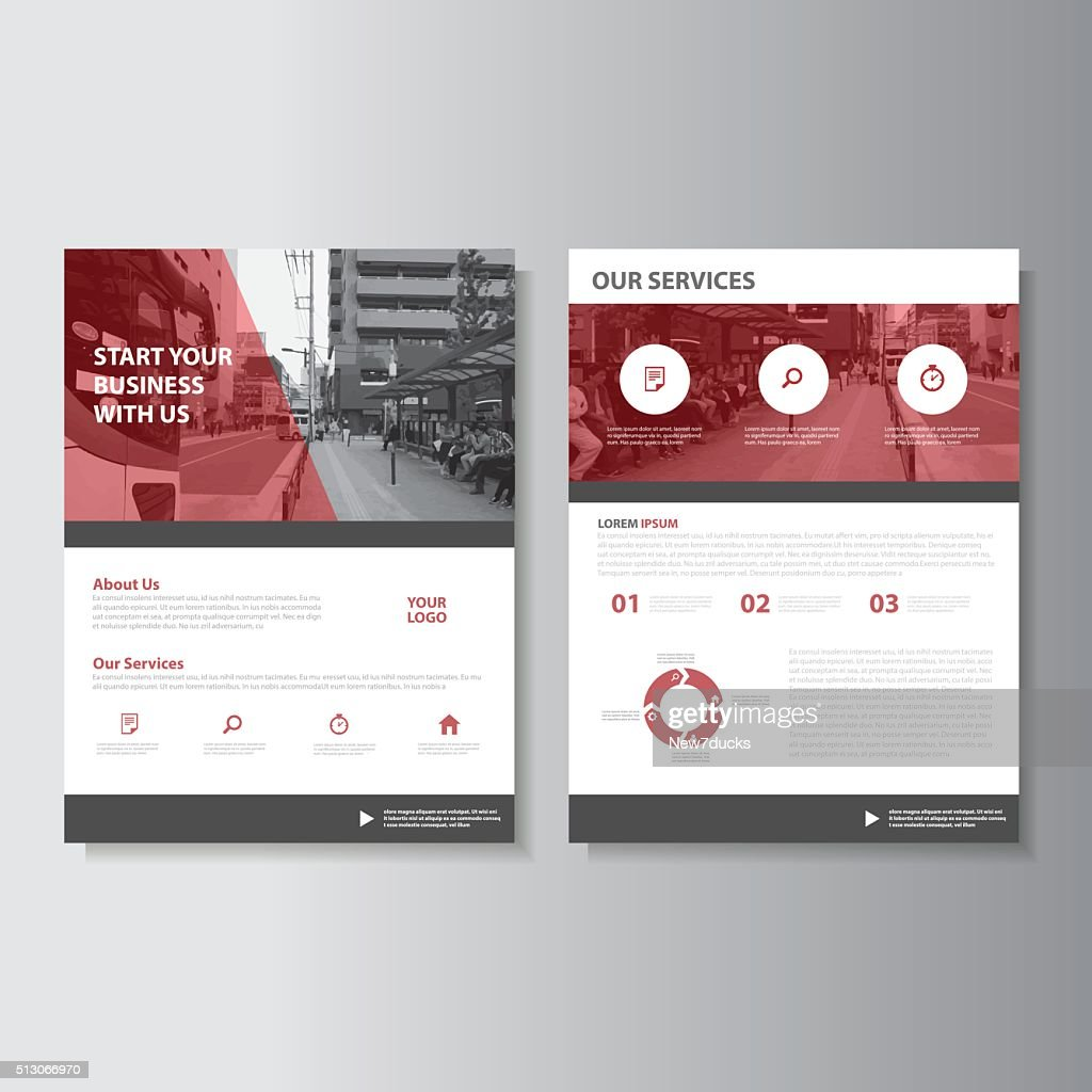 Red Magazine annual report Leaflet Brochure Flyer template design set